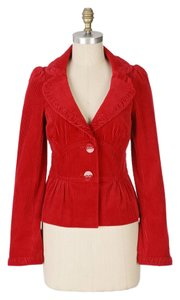 Anthropologie Corduroy Detailed Elevenses Red Jacket