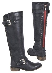 Madden Girl Zipper Grey Black Black Paris Boots