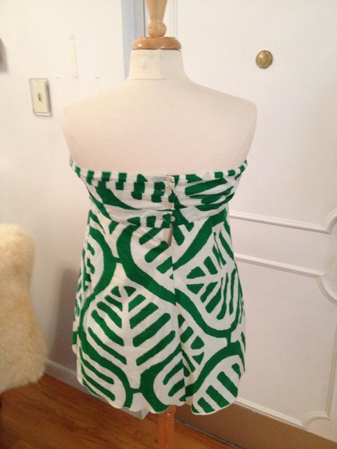 Diane von Furstenberg Strapless Top Green and White