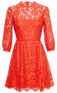 Valentino Orange Red Lace Dress