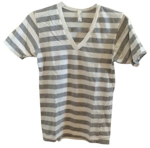 American Apparel T Shirt Heather gray and white