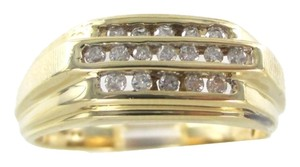 14KT SOLID YELLOW GOLD RING 17 DIAMONDS .25 CARAT 4.9 GRAMS TRI ROW BAND CLUSTER
