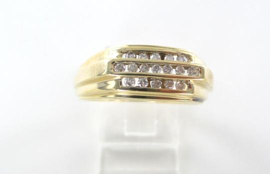 Other 14KT SOLID YELLOW GOLD RING 17 DIAMONDS .25 CARAT 4.9 GRAMS TRI ROW BAND CLUSTER