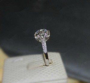 New 4.5 5 6 7 8 In Stock Ring Diamond 3ct Flower Vtg Wedding Engagement Ring Bridal Promise Certified Auth Pt950 Lab Man