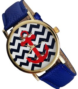 Geneva Geneva blue chevron print watch