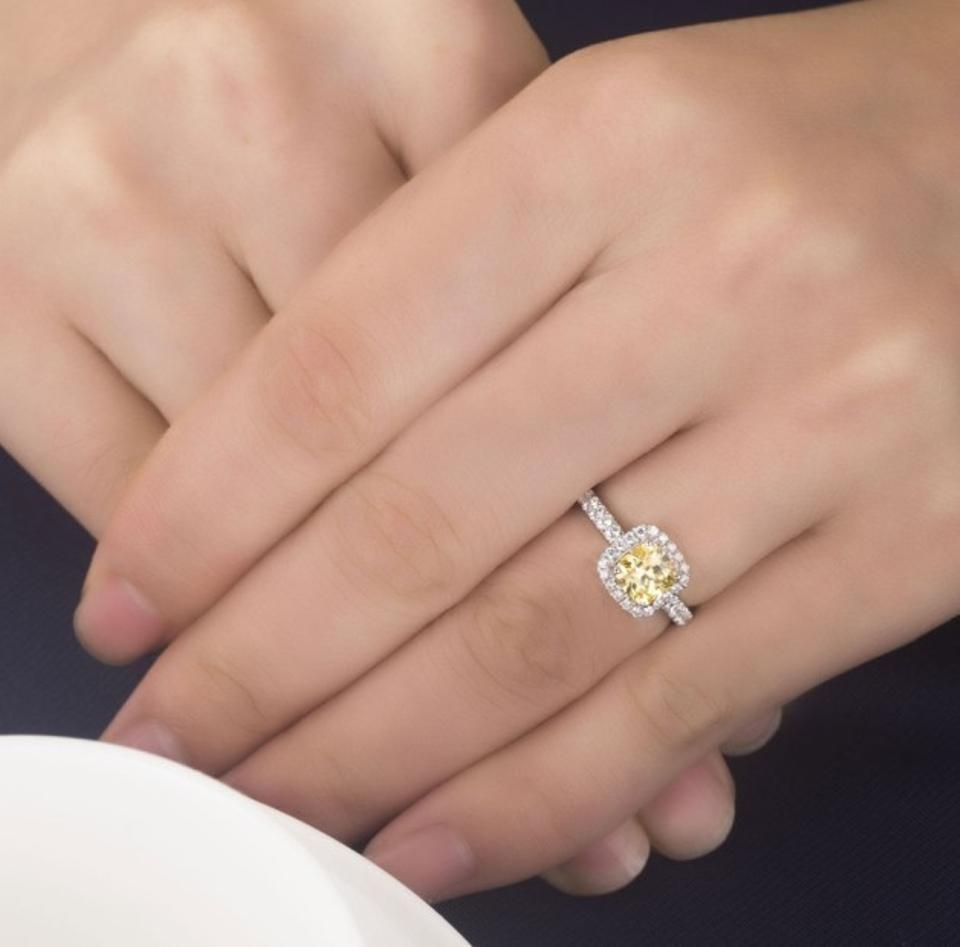 All Sizes 4 5 5 6 7 8 Lab Yellow Diamond Cushion Cut Square Vvs1 3ct Large Huge Band Lab Man Engagement Ring 36 Off Retail
