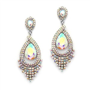 Mariell Spectacular Iridescent Ab Statement Chandelier Earrings 4528e-ab