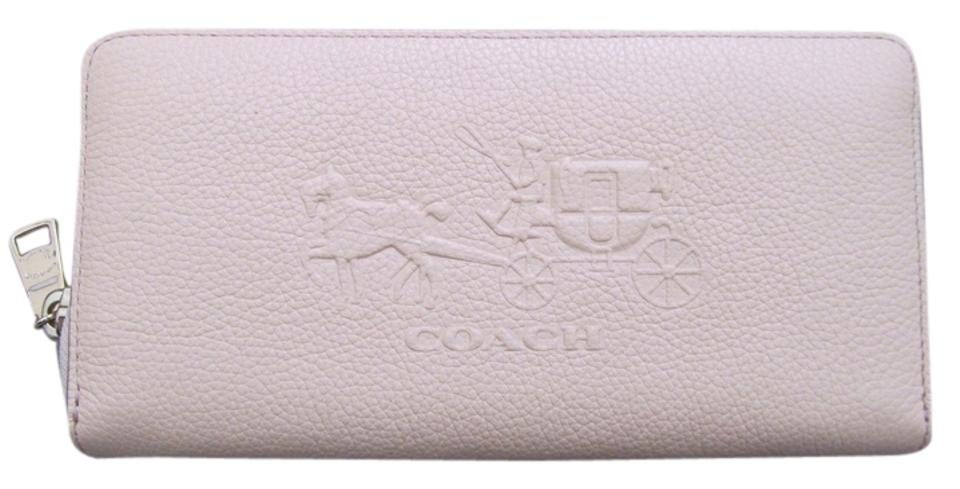 finest selection 5ff3b 76083 Coach Apricot 52401 Embossed Horse & Carriage Accordion Zip Wallet 60% off  retail