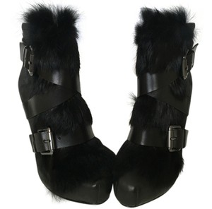 Ash 100% Leather Rabbit Fur Black Boots