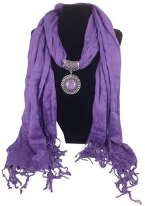 Other Brand New! Beautiful Purple Scarf with Purple Resin Circular Pendant & fringe bottom!