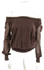 Jean-Paul Gaultier Mesh Bohemme Ruched Top Brown