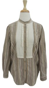Irene Van Ryb Tuxedo Collarless Striped Button Down Shirt beige