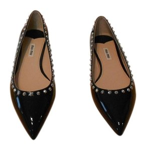 Miu Miu Silvertone Studs Edgy Sophisticated Made In Italy Black Flats