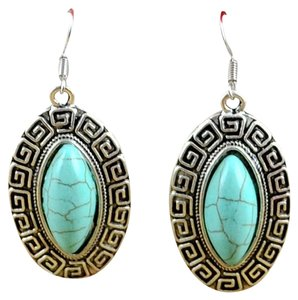 Unknown Tibet Silver Turquoise Dangle Earrings
