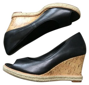 Cole Haan Black Leather Peep Toe. Cork Wedge Heel. Wedges