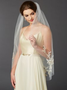 Mariell Gold And Silver Embroidered Floral Lace Fingertip Wedding Veil 4469v-i-g-s