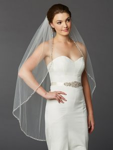 Mariell Glistening Beaded Edge Long Fingertip Wedding Veil 4466v-i