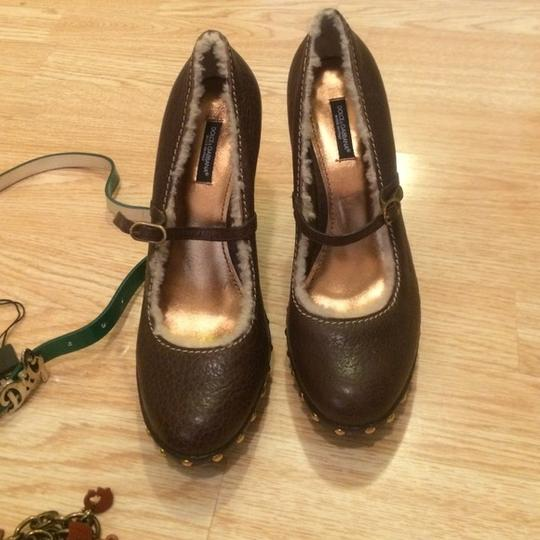 Dolce&Gabbana Mary Jane Shearling Sold Out Italy New Stylish Brown Pumps