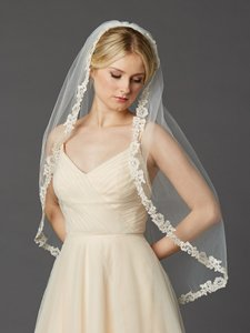 Mariell Rum Pink Fingertip Length Mantilla With Embroidered Lace Edge 1-tier 4419v-i-rmpk
