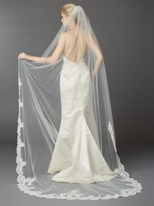 Mariell 1 Layer Embroidered Cathedral Mantilla Wedding Veil With Dramatic Beaded Lace Edge 4422v-i-s