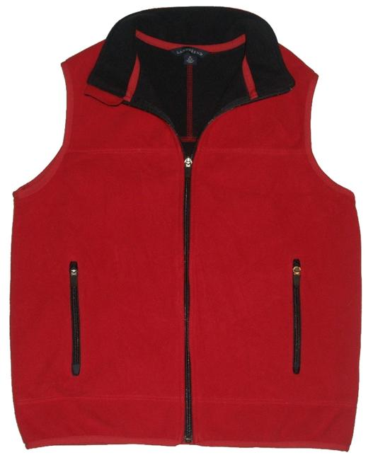 Lands' End 2 Zippered Hand Pockets *full Front Zip *windproof Water Resistant Membrane Between Fleece Layers *pill Resistant Out Vest