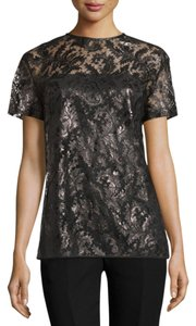 Monique Lhuillier Lace Short Sleeve Top Black