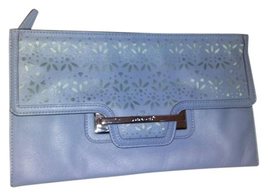 Coach Silver Accents Large Leather Eyelet Design Periwinkle Blue Clutch