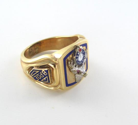 Other 14KT SOLID YELLOW GOLD RING ELK LODGE B.P.OE RUBY EYES RUBIES WATCH ENAMEL 7.5