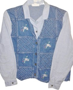 Alfred Dunner Embroidered Vest Denim Top Blue