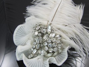 Rhinestoned Extravagant Hairpiece Feathered & Brilliant Rhinestones