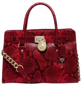 Michael Kors Hamilton Embossed Python Satchel in Cherry / Gold