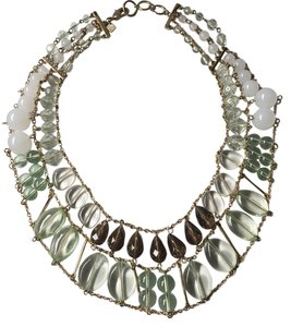 Banana Republic Green White Gold Statement necklace