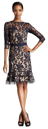 Tadashi Shoji Embroidered Lace 3/4 Sleeve With Sheer Cut Out Detail In / Nude Style: 3k1147m Dress - 51% Off Retail 85%OFF