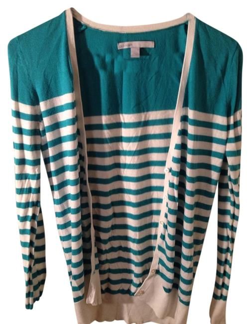 Preload https://item3.tradesy.com/images/old-navy-cardigan-teal-and-white-1341342-0-0.jpg?width=400&height=650