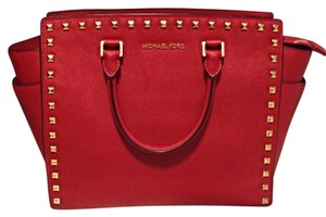 Michael Kors Mk Selma Saffiano Leather Studded Purse Strawberry Fields Tote in Red