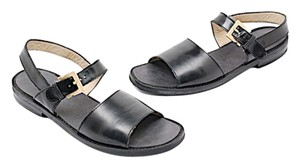 Salvatore Ferragamo Deng Alden Double Strap Black Sandals