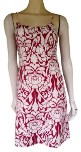 Ann Taylor short dress Red Linen Blend Damask on Tradesy