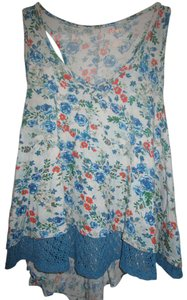 Mudd Crochet Blue Festival Summer Top Blue Floral