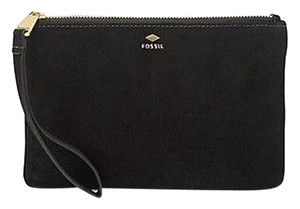 Fossil Clutch Metallic Leather Wristlet in Black