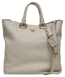 Prada Soft Calf Leather Tote in off white