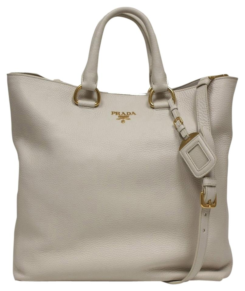 ebf5c7bd448c83 Prada Shopping Bn1713 Off White Soft Calf Leather with Gold Hardware ...