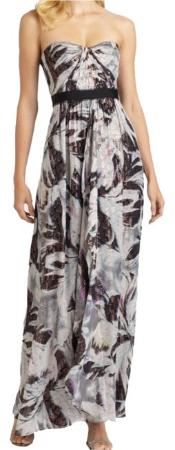 Item - Gray Mulberry Teal and Black Auriel Strapless Metallic Print Chiffon Gown Long Formal Dress Size 6 (S)