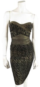Hervé Leger Gold Printed Bodycon Lbd Dress