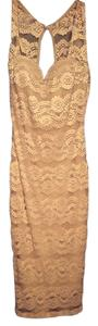Accent Lace Nude Kneelength Dress
