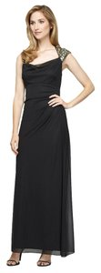 Alex Evenings Cap Sleeve Ruched Chiffon Dress