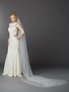Mariell Royal Cathedral Length Single Layer Cut Edge Bridal Veil In Ivory 4433v-120-i