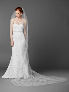 Mariell Royal Cathedral Length Single Layer Cut Edge Wedding Veil In White 4433v-120-w