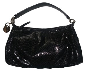 Calvin Klein Alligator Handbag Leather Handle Evening Black Clutch