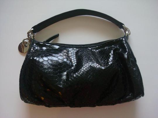 Calvin Klein Alligator Purse Handbag Leather Handle Evening Black Clutch