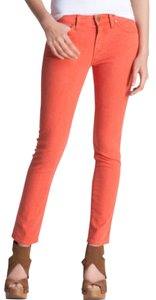 Vince Sf Orange Colored Cropped Skinny Jeans-Light Wash